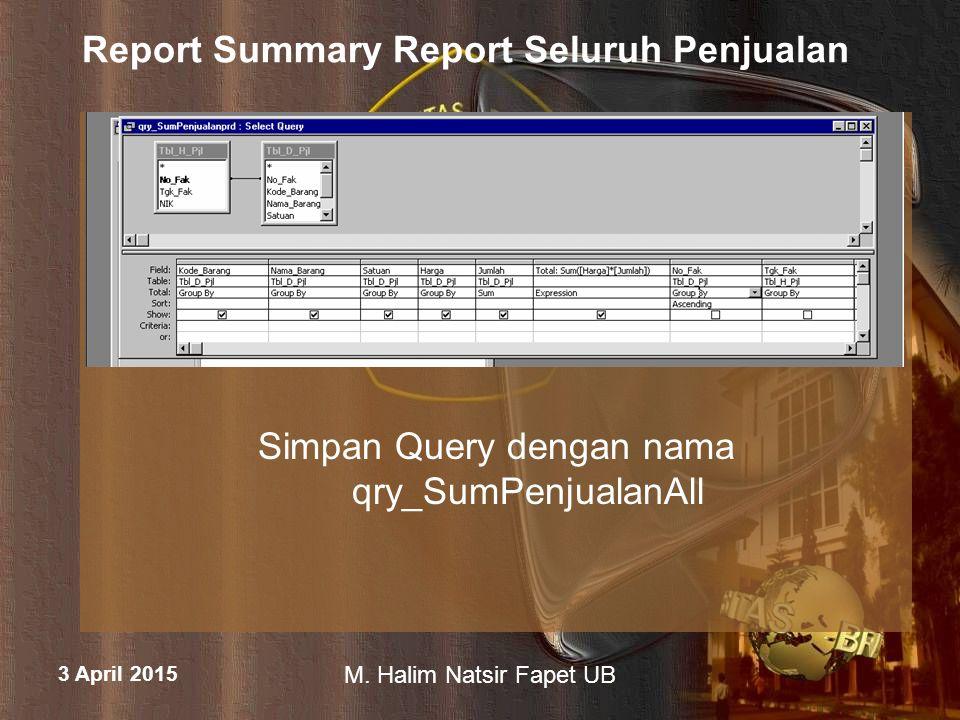 3 April 2015 M. Halim Natsir Fapet UB Report Summary Report Seluruh Penjualan Simpan Query dengan nama qry_SumPenjualanAll