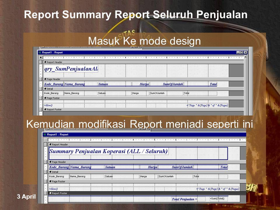 3 April 2015 M. Halim Natsir Fapet UB Report Summary Report Seluruh Penjualan Masuk Ke mode design Kemudian modifikasi Report menjadi seperti ini