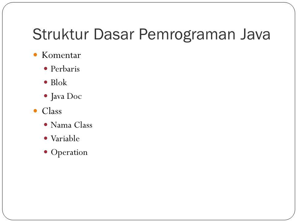 Struktur Dasar Pemrograman Java Komentar Perbaris Blok Java Doc Class Nama Class Variable Operation