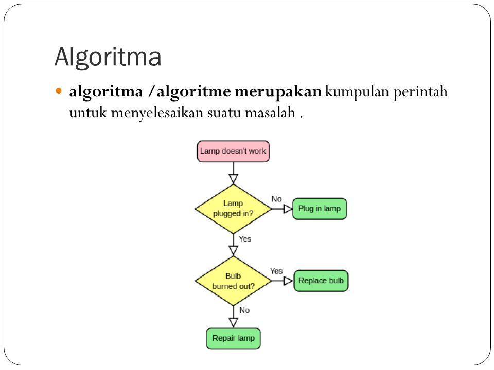 Algoritma algoritma /algoritme merupakan kumpulan perintah untuk menyelesaikan suatu masalah.