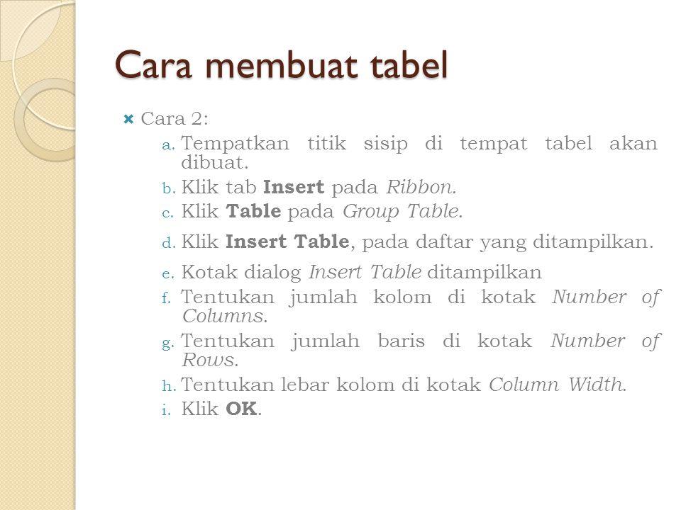 Cara membuat tabel  Cara 2: a. Tempatkan titik sisip di tempat tabel akan dibuat. b. Klik tab Insert pada Ribbon. c. Klik Table pada Group Table. d.