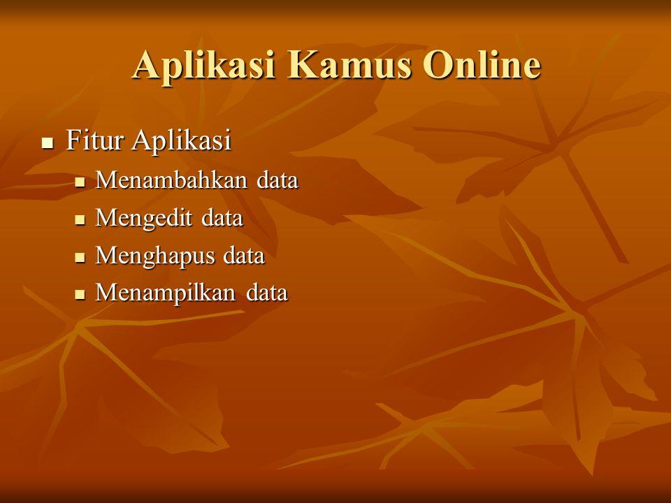 Aplikasi Kamus Online Fitur Aplikasi Fitur Aplikasi Menambahkan data Menambahkan data Mengedit data Mengedit data Menghapus data Menghapus data Menamp