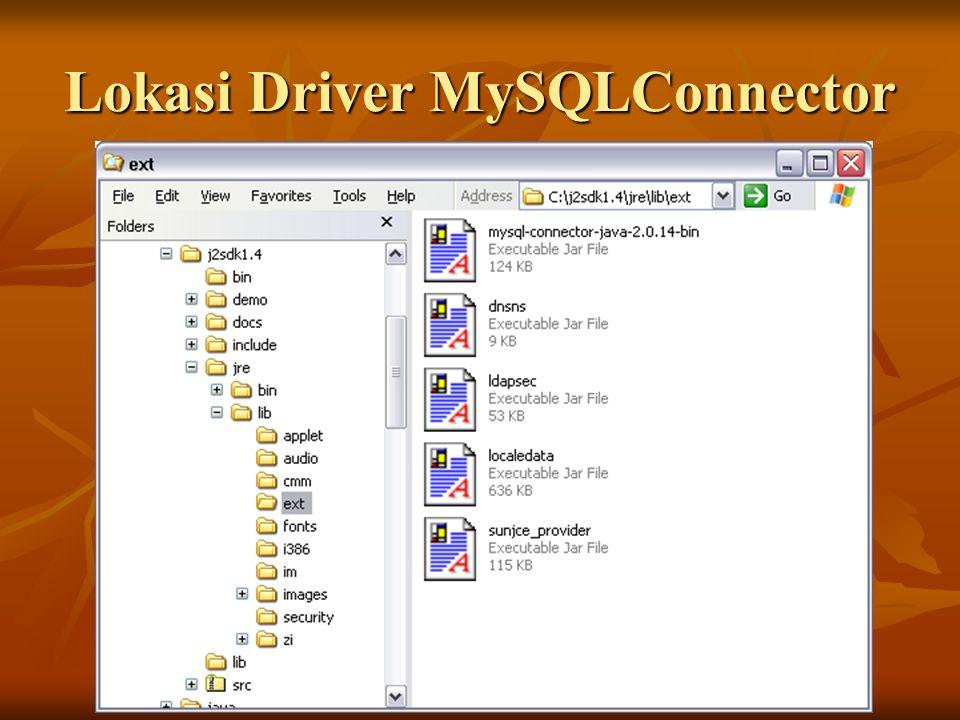 Lokasi Driver MySQLConnector