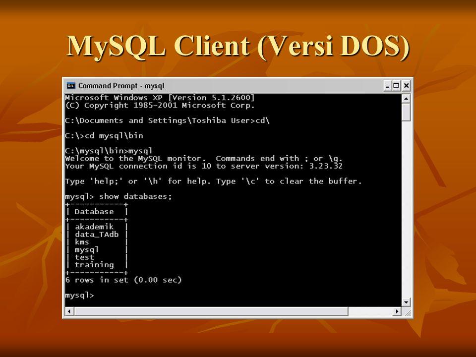 MySQL Control Center Untuk menggunakan MySql Control Center anda harus menginstal MySQl terlebih dahulu Untuk menggunakan MySql Control Center anda harus menginstal MySQl terlebih dahulu MySQL control center adalah tool dengan GUI untuk mengakses basis data MySQL.