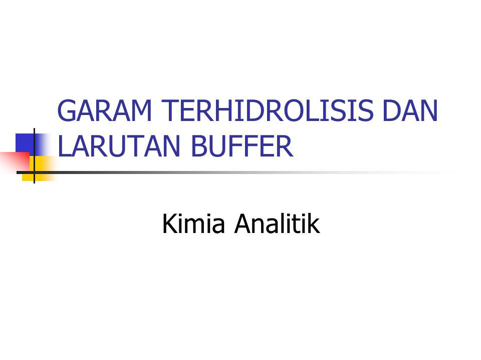 GARAM TERHIDROLISIS DAN LARUTAN BUFFER Kimia Analitik