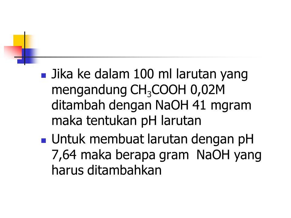 Jika ke dalam 100 ml larutan yang mengandung CH 3 COOH 0,02M ditambah dengan NaOH 41 mgram maka tentukan pH larutan Untuk membuat larutan dengan pH 7,
