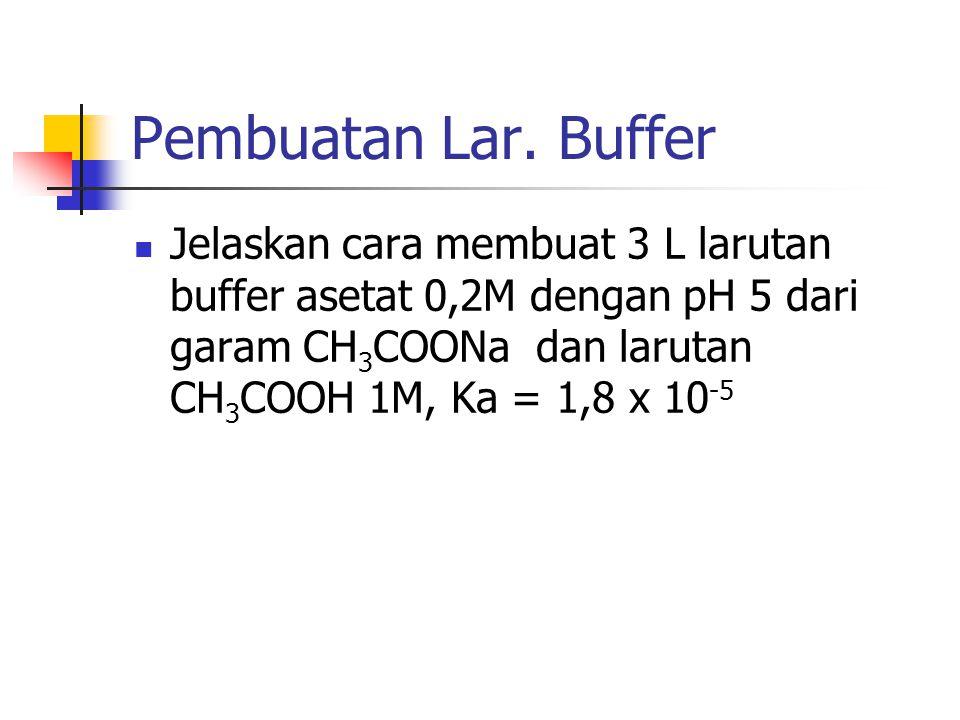 Pembuatan Lar. Buffer Jelaskan cara membuat 3 L larutan buffer asetat 0,2M dengan pH 5 dari garam CH 3 COONa dan larutan CH 3 COOH 1M, Ka = 1,8 x 10 -