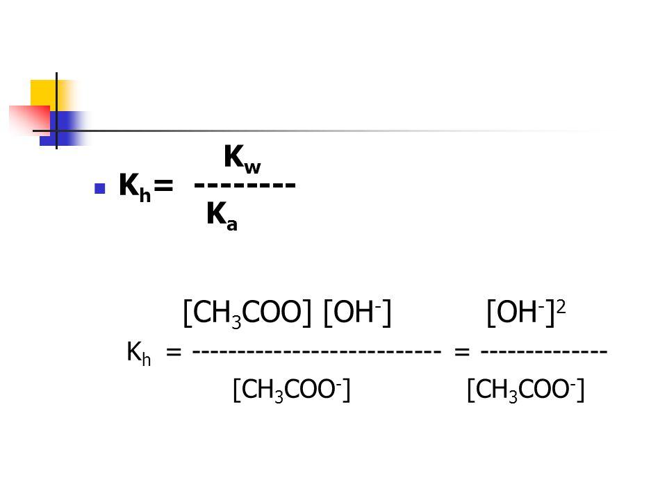 K w K h = -------- K a [CH 3 COO] [OH - ] [OH - ] 2 K h = --------------------------- = -------------- [CH 3 COO - ] [CH 3 COO - ]