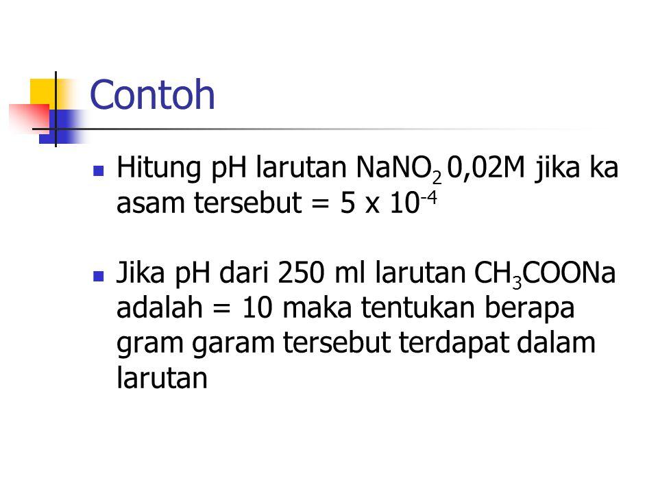 Contoh Hitung pH larutan NaNO 2 0,02M jika ka asam tersebut = 5 x 10 -4 Jika pH dari 250 ml larutan CH 3 COONa adalah = 10 maka tentukan berapa gram g