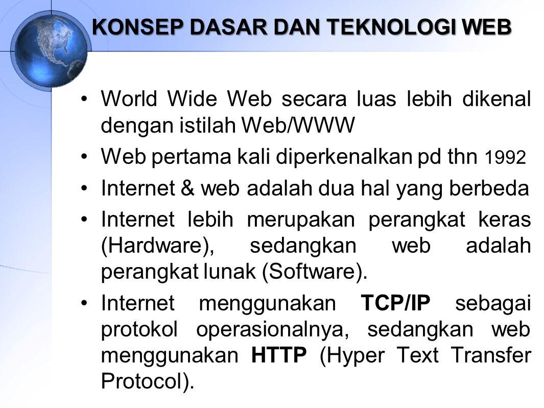 KONSEP DASAR DAN TEKNOLOGI WEB World Wide Web secara luas lebih dikenal dengan istilah Web/WWW Web pertama kali diperkenalkan pd thn 1992 Internet & w