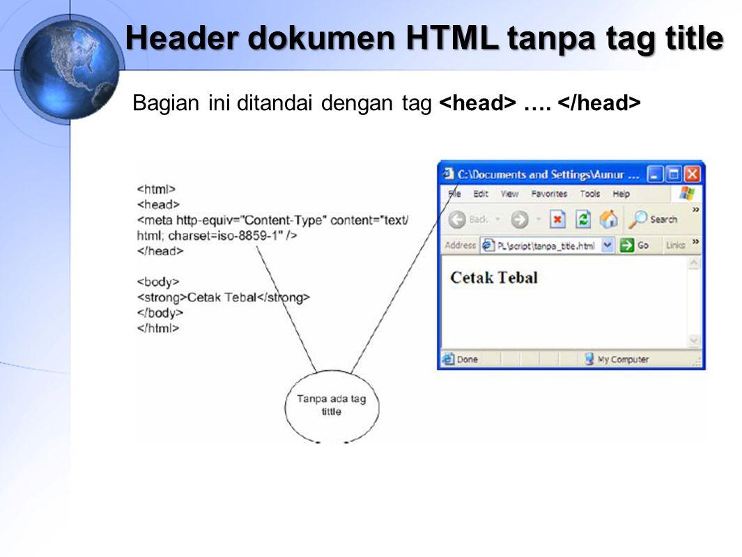 Header dokumen HTML tanpa tag title Bagian ini ditandai dengan tag ….