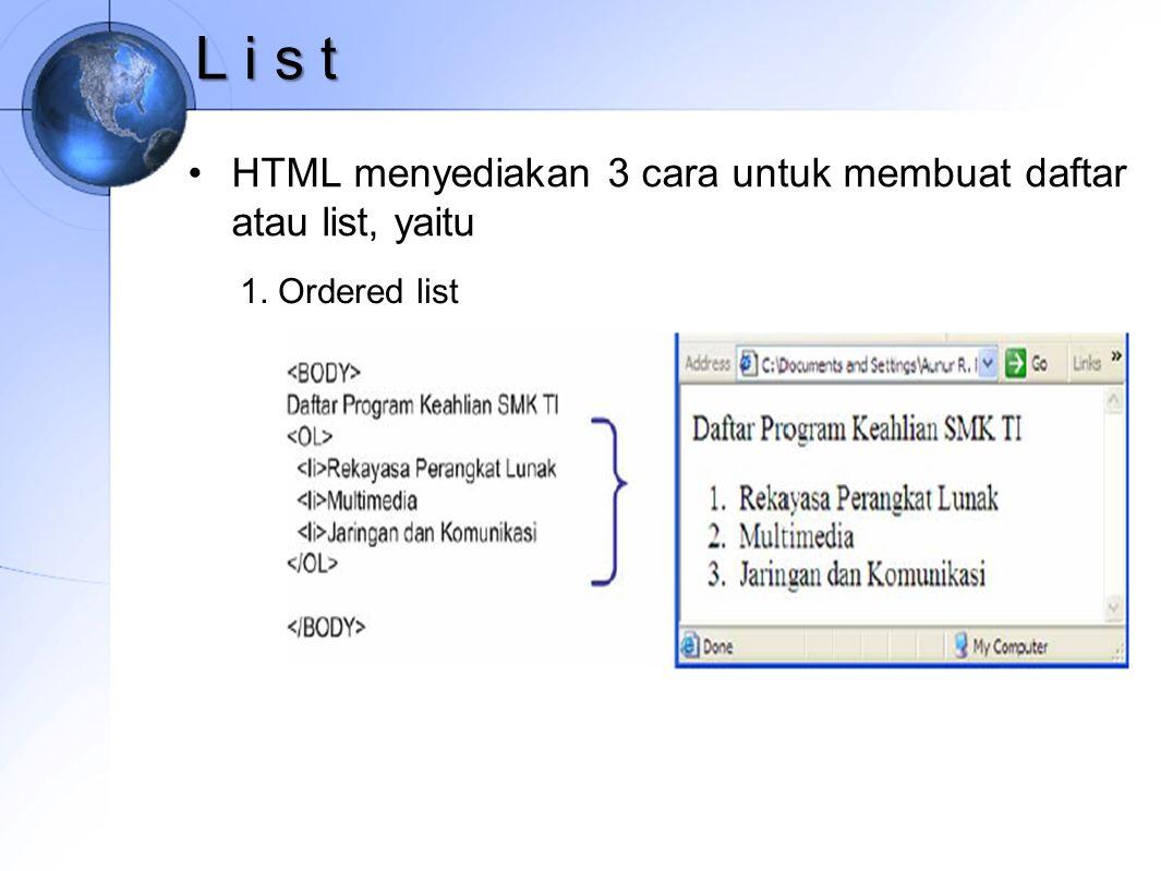 L i s t HTML menyediakan 3 cara untuk membuat daftar atau list, yaitu 1. Ordered list