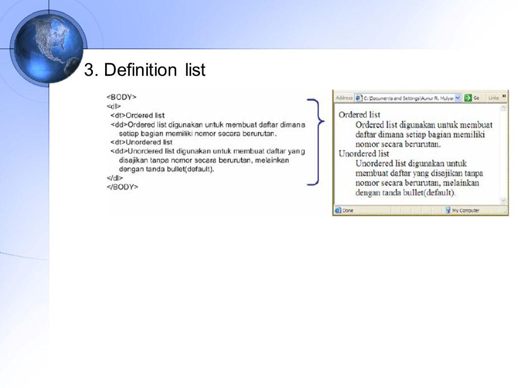 3. Definition list