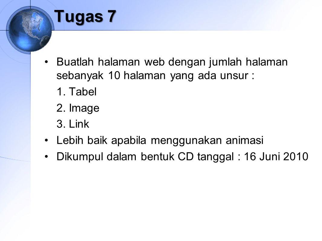 Tugas 7 Buatlah halaman web dengan jumlah halaman sebanyak 10 halaman yang ada unsur : 1. Tabel 2. Image 3. Link Lebih baik apabila menggunakan animas