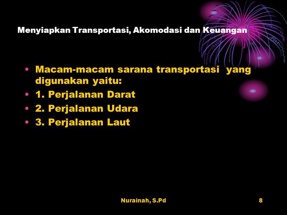Nurainah, S.Pd8 Menyiapkan Transportasi, Akomodasi dan Keuangan Macam-macam sarana transportasi yang digunakan yaitu: 1. Perjalanan Darat 2. Perjalana