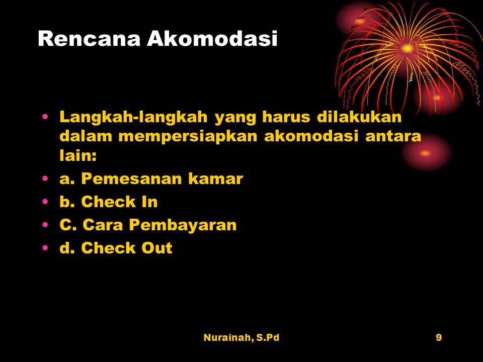 Nurainah, S.Pd9 Rencana Akomodasi Langkah-langkah yang harus dilakukan dalam mempersiapkan akomodasi antara lain: a. Pemesanan kamar b. Check In C. Ca