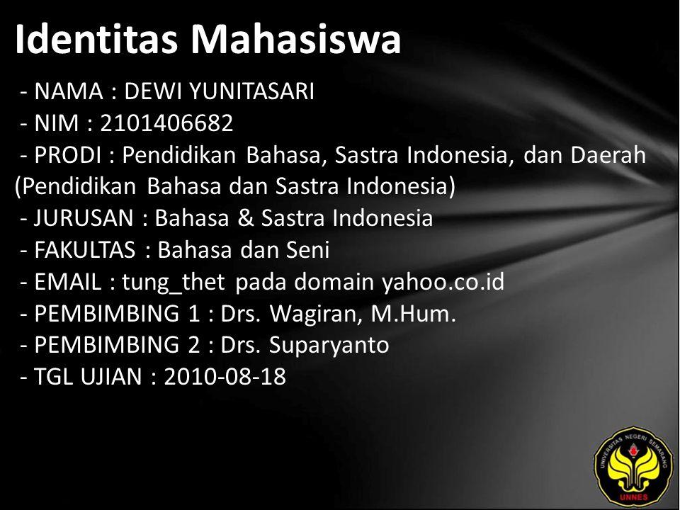 Identitas Mahasiswa - NAMA : DEWI YUNITASARI - NIM : 2101406682 - PRODI : Pendidikan Bahasa, Sastra Indonesia, dan Daerah (Pendidikan Bahasa dan Sastr