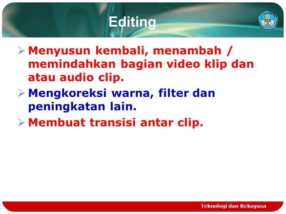 Editing  Menyusun kembali, menambah / memindahkan bagian video klip dan atau audio clip.  Mengkoreksi warna, filter dan peningkatan lain.  Membuat