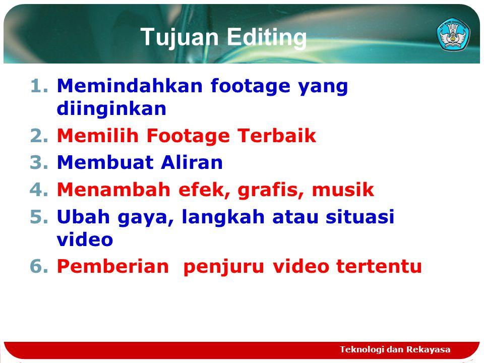 Tujuan Editing 1.Memindahkan footage yang diinginkan 2.Memilih Footage Terbaik 3.Membuat Aliran 4.Menambah efek, grafis, musik 5.Ubah gaya, langkah at