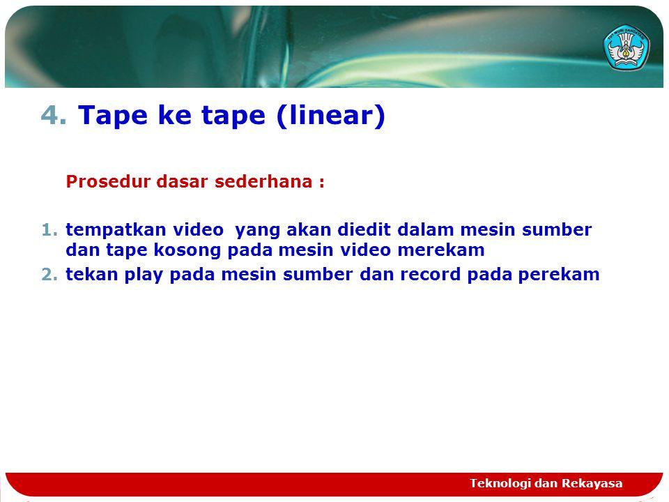 4.Tape ke tape (linear) Prosedur dasar sederhana : 1.tempatkan video yang akan diedit dalam mesin sumber dan tape kosong pada mesin video merekam 2.te