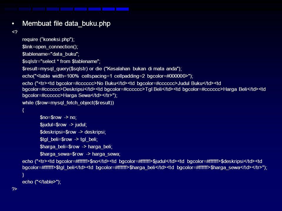 """Membuat file data_buku.php <? require (""""koneksi.php"""