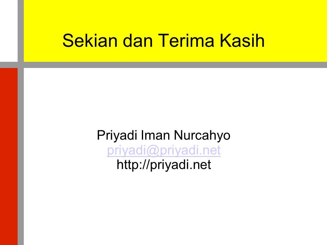 Sekian dan Terima Kasih Priyadi Iman Nurcahyo priyadi@priyadi.net http://priyadi.net