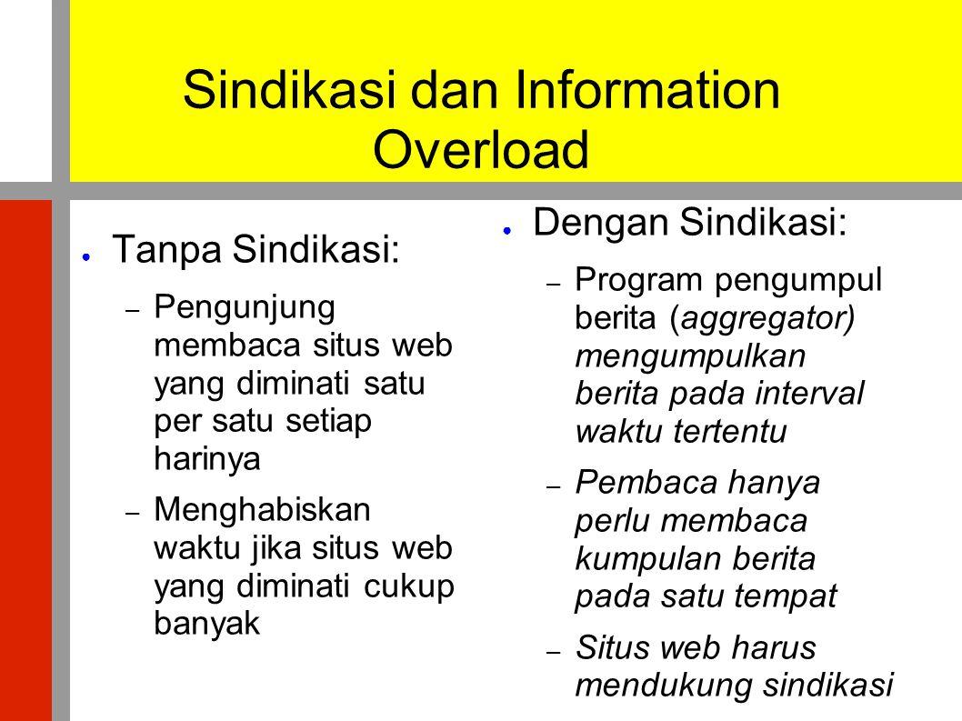 Beberapa Program Aggregator ● Online atau berbasis web – Bloglines.com – My Yahoo – Kinja.com ● Aplikasi desktop – Mozilla Firefox dan Thunderbird – Opera – WinRSS – Microsoft Windows Vista
