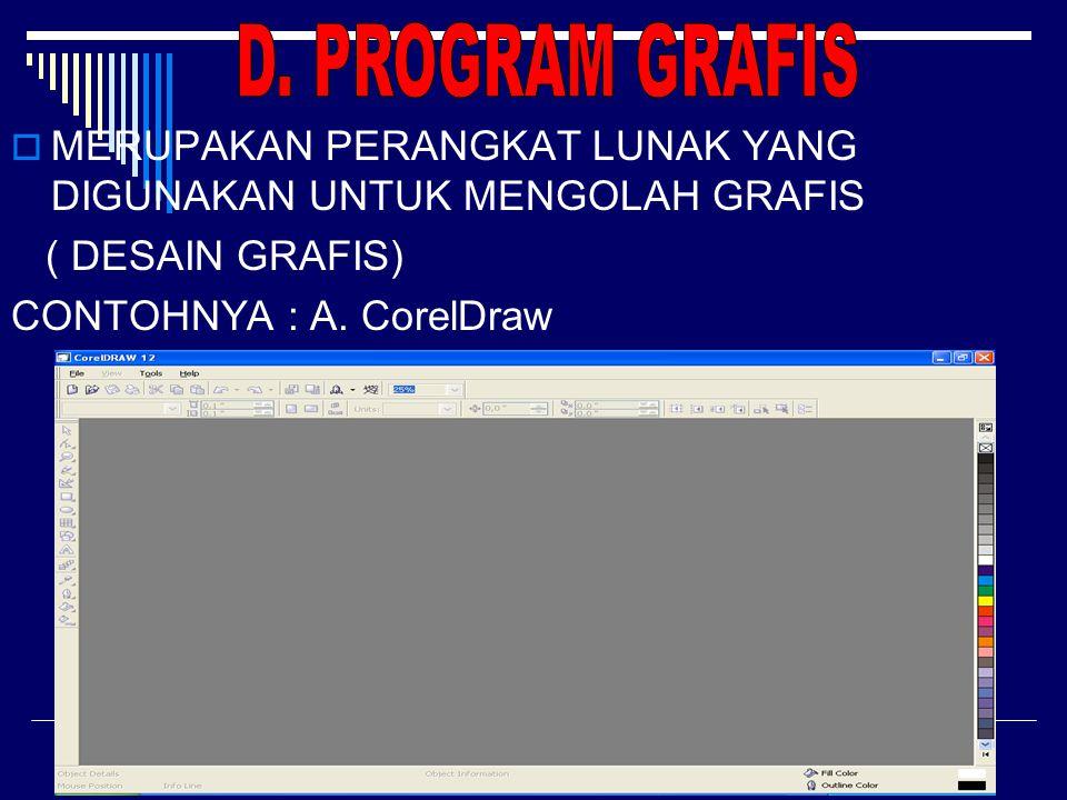 d. Adobe Photoshop PProgram yang digunakan untuk mengolah foto, efek dan desain, contoh: