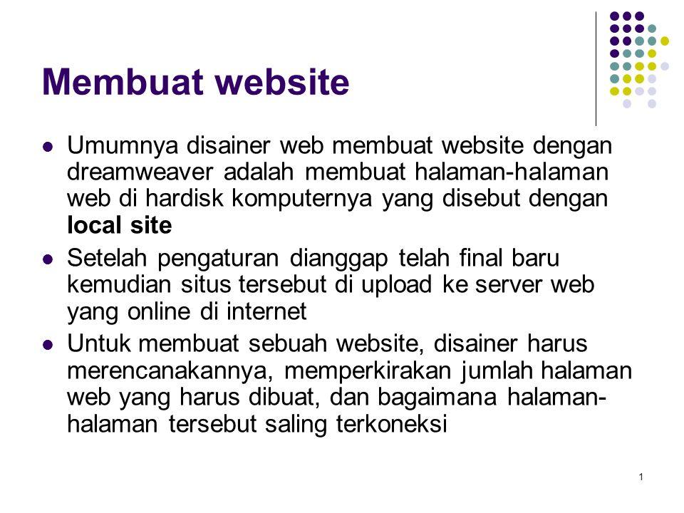 2 Membuat Local Site Pilih Menu Site > New Site Jika yang aktif adalah tab advanced, pilih basic Beri nama website tersebut, misalnya website pribadi nama_anda Klik Next >