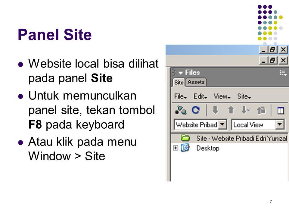 8 Menambahkan Aset Untuk mempercantik web tentu saja kita membutuhkan file-file gambar, sebaiknya file-file tersebut disimpan di folder yang sama agar memudahkan Buatlah sebuah folder images pada website lokal yang telah dibuat Klik kanan pada Site, pilih New Folder, set namanya images Gunakan windows explorer untuk mengcopy gambar kedalam direktori images tersebut (contoh 3 buah gambar saja)