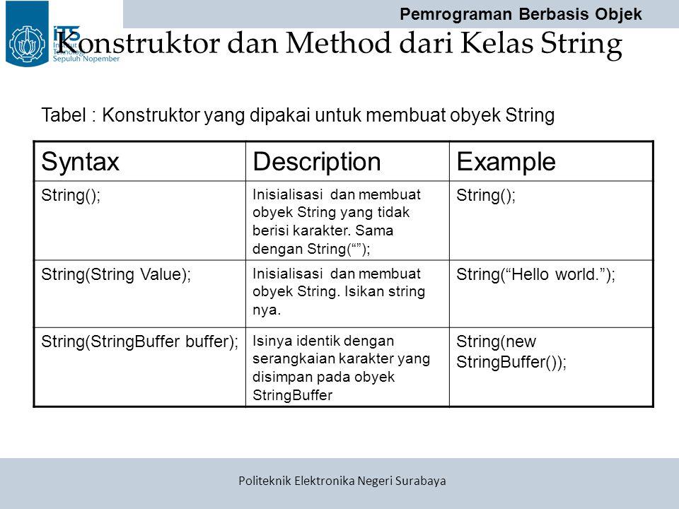 Pemrograman Berbasis Objek Politeknik Elektronika Negeri Surabaya Konstruktor dan Method dari Kelas String SyntaxDescriptionExample String(); Inisiali