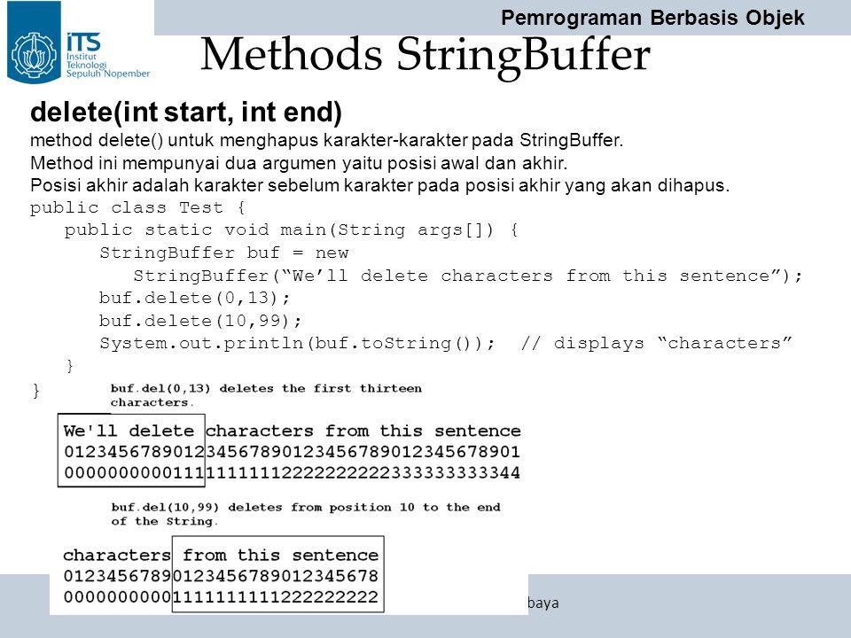 Pemrograman Berbasis Objek Politeknik Elektronika Negeri Surabaya Methods StringBuffer delete(int start, int end) method delete() untuk menghapus kara