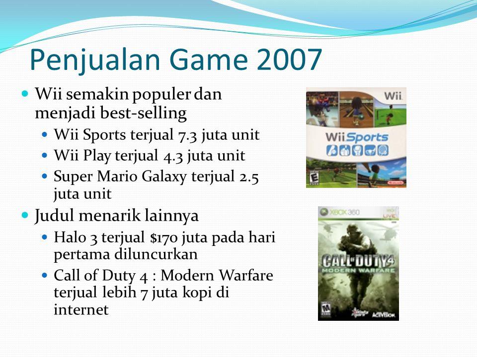 Wii semakin populer dan menjadi best-selling Wii Sports terjual 7.3 juta unit Wii Play terjual 4.3 juta unit Super Mario Galaxy terjual 2.5 juta unit Judul menarik lainnya Halo 3 terjual $170 juta pada hari pertama diluncurkan Call of Duty 4 : Modern Warfare terjual lebih 7 juta kopi di internet Penjualan Game 2007