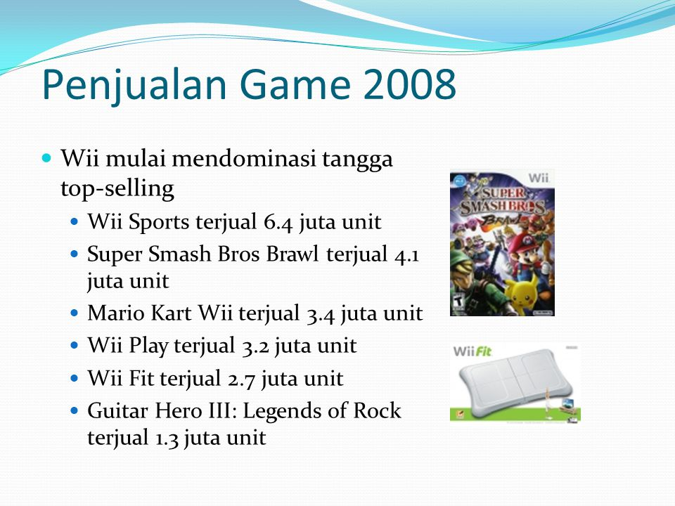 Wii mulai mendominasi tangga top-selling Wii Sports terjual 6.4 juta unit Super Smash Bros Brawl terjual 4.1 juta unit Mario Kart Wii terjual 3.4 juta unit Wii Play terjual 3.2 juta unit Wii Fit terjual 2.7 juta unit Guitar Hero III: Legends of Rock terjual 1.3 juta unit Penjualan Game 2008