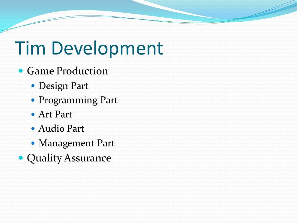 Tim Development Game Production Design Part Programming Part Art Part Audio Part Management Part Quality Assurance
