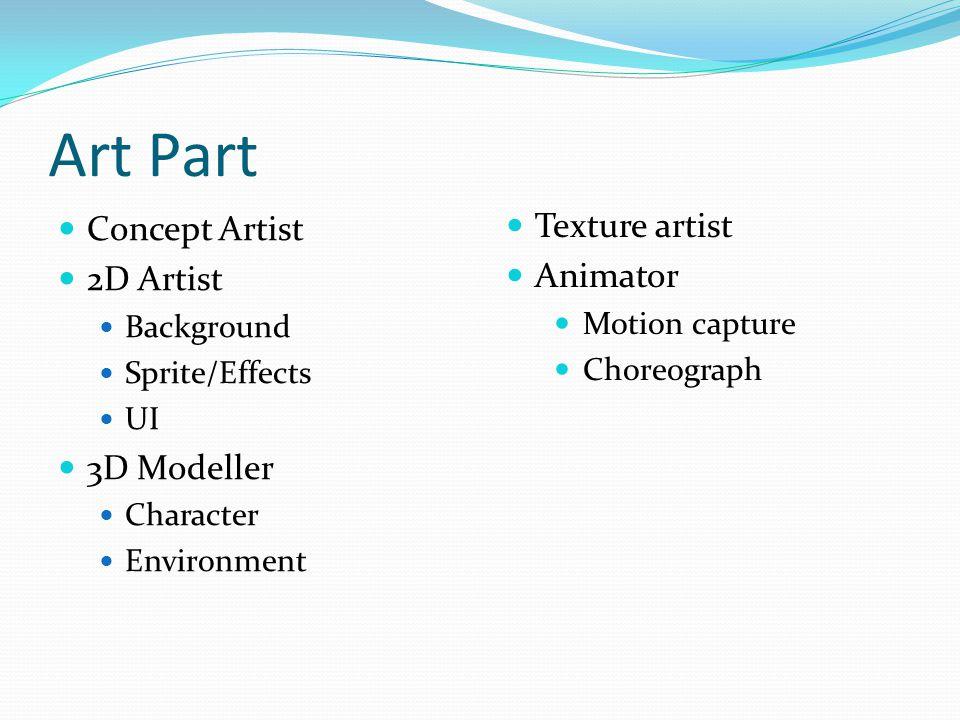 Art Part Concept Artist 2D Artist Background Sprite/Effects UI 3D Modeller Character Environment Texture artist Animator Motion capture Choreograph