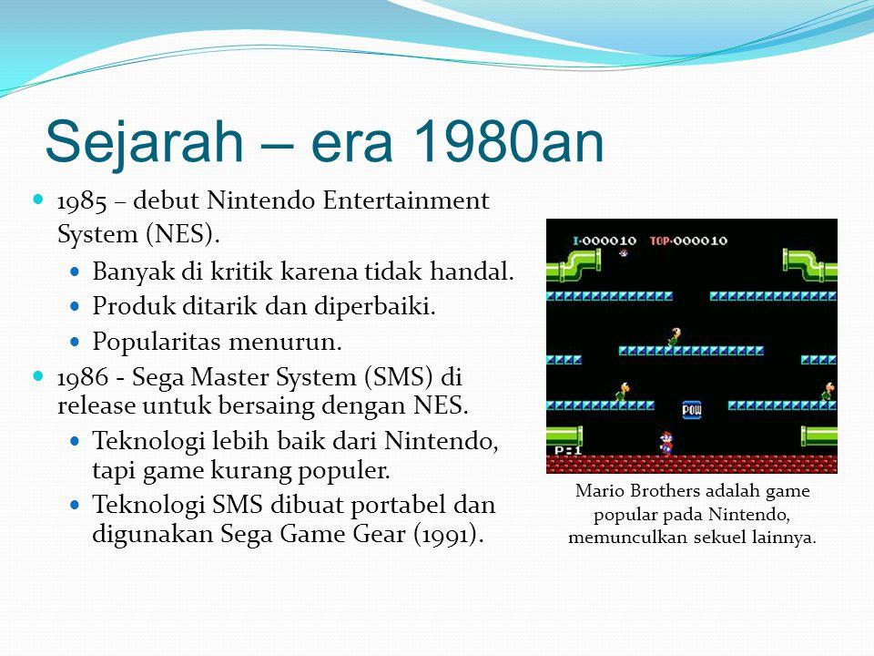 Sejarah – era 1980an & 1990an Nintendo produsen console utama, Sega pesaing utama.