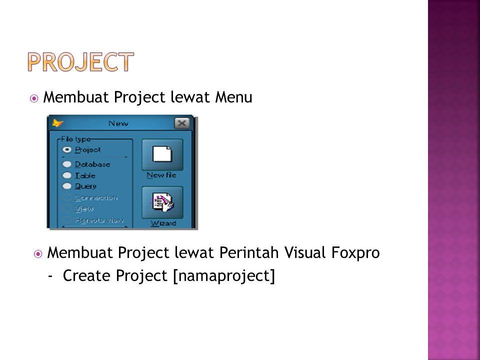  Membuat Project lewat Menu  Membuat Project lewat Perintah Visual Foxpro - Create Project [namaproject]