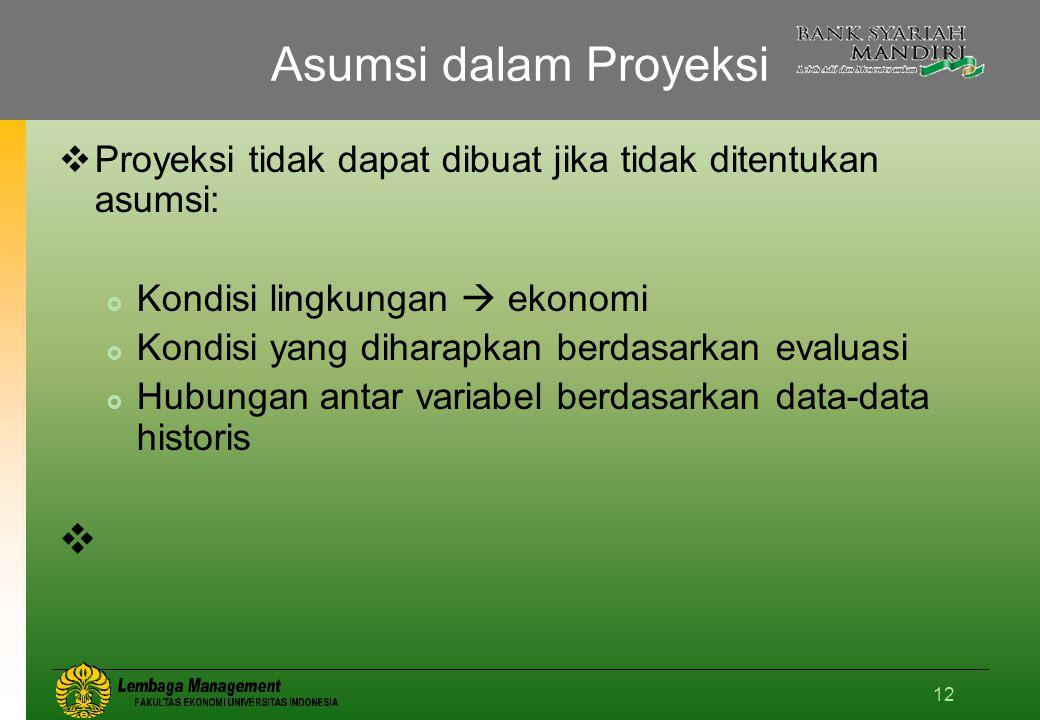 12 Asumsi dalam Proyeksi  Proyeksi tidak dapat dibuat jika tidak ditentukan asumsi:  Kondisi lingkungan  ekonomi  Kondisi yang diharapkan berdasarkan evaluasi  Hubungan antar variabel berdasarkan data-data historis 