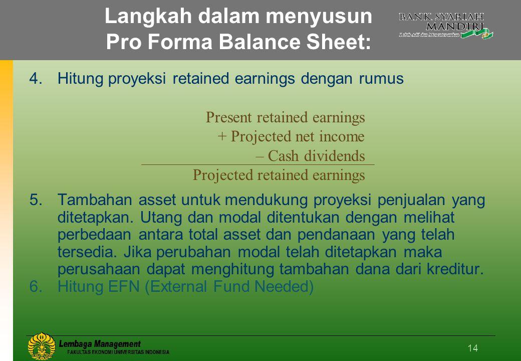 14 Langkah dalam menyusun Pro Forma Balance Sheet: 4.Hitung proyeksi retained earnings dengan rumus 5.Tambahan asset untuk mendukung proyeksi penjualan yang ditetapkan.