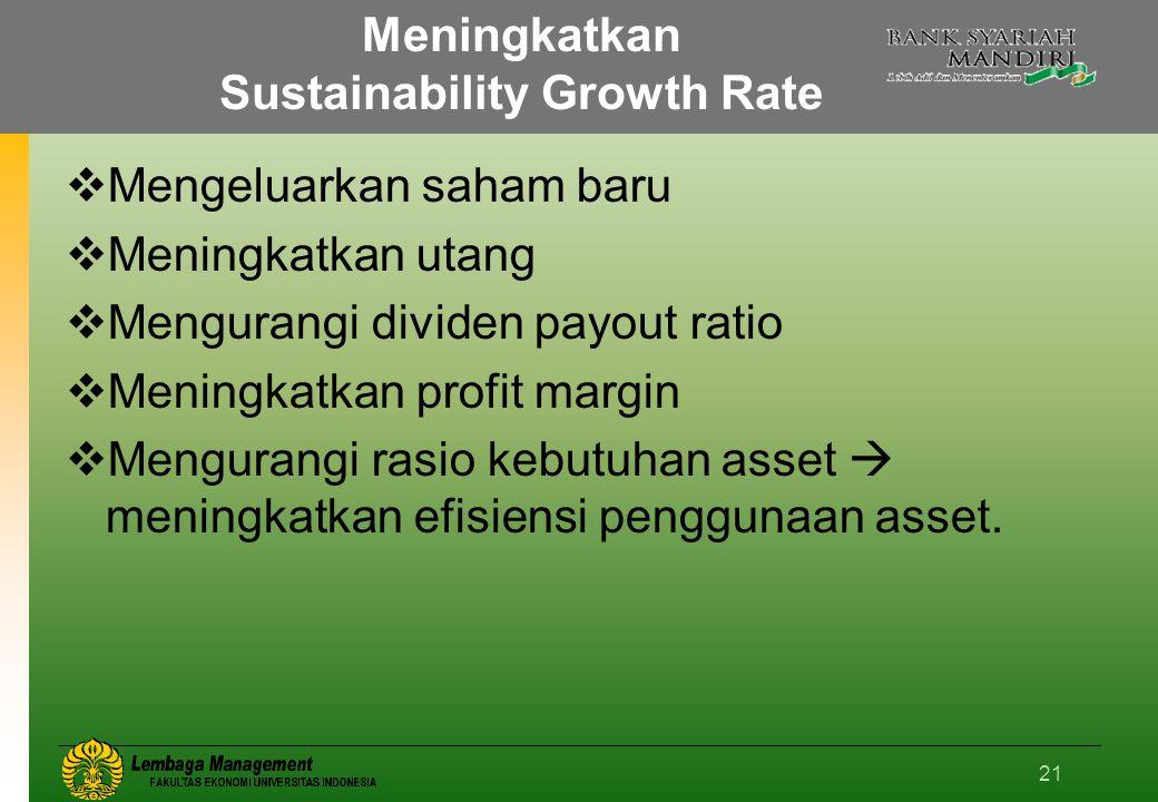 21 Meningkatkan Sustainability Growth Rate  Mengeluarkan saham baru  Meningkatkan utang  Mengurangi dividen payout ratio  Meningkatkan profit margin  Mengurangi rasio kebutuhan asset  meningkatkan efisiensi penggunaan asset.