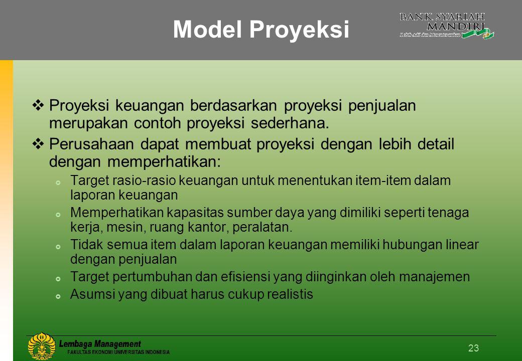 23 Model Proyeksi  Proyeksi keuangan berdasarkan proyeksi penjualan merupakan contoh proyeksi sederhana.
