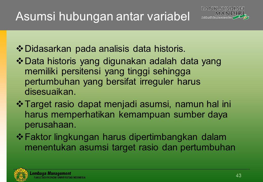 43 Asumsi hubungan antar variabel  Didasarkan pada analisis data historis.