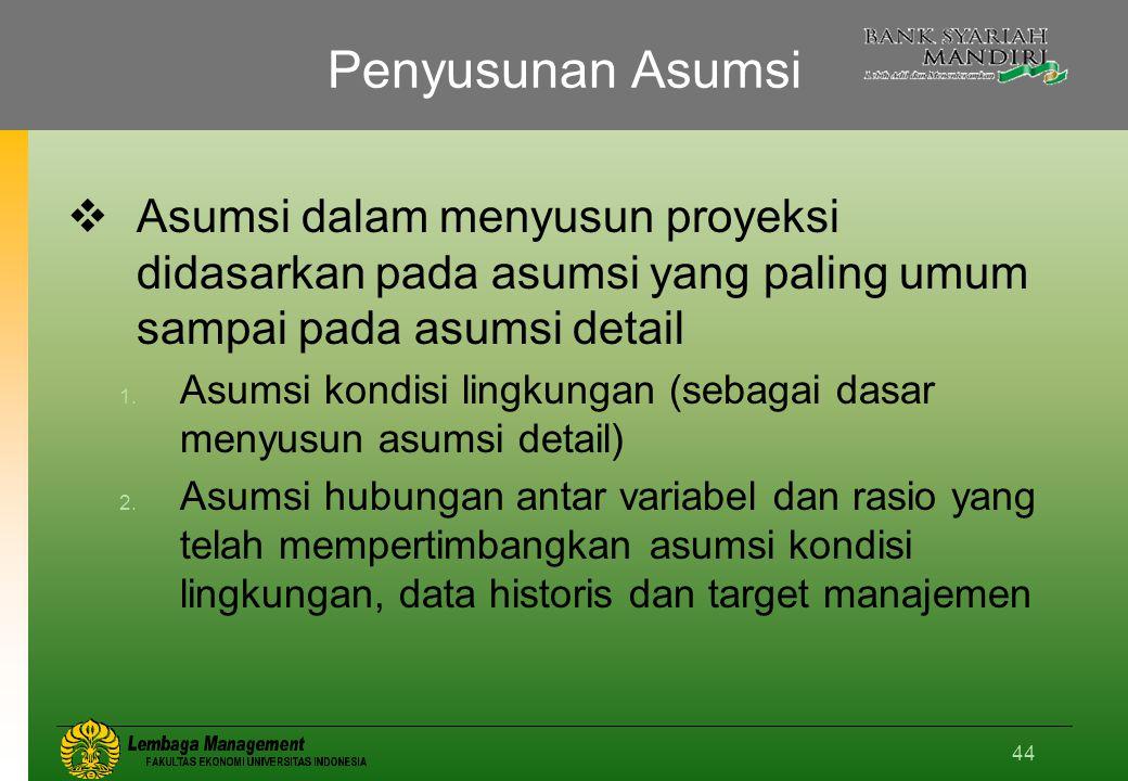 44 Penyusunan Asumsi  Asumsi dalam menyusun proyeksi didasarkan pada asumsi yang paling umum sampai pada asumsi detail 1.