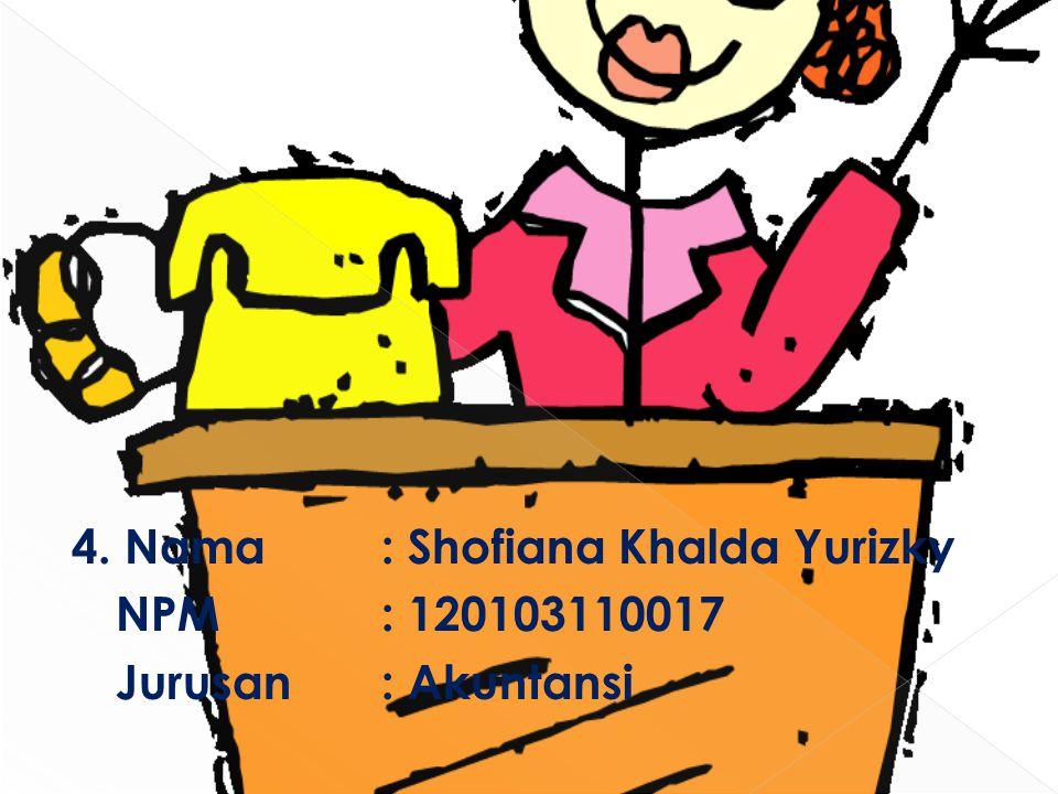 4. Nama : Shofiana Khalda Yurizky NPM: 120103110017 Jurusan : Akuntansi