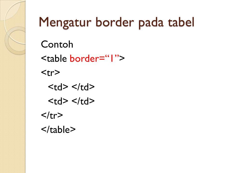 Mengatur border pada tabel Contoh