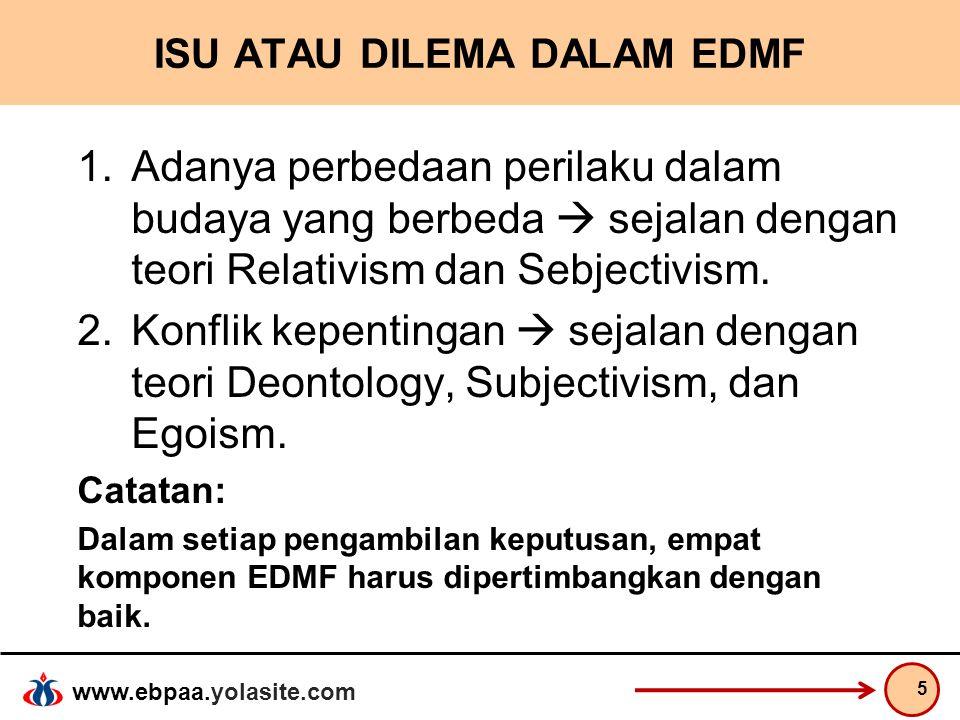 www.ebpaa.yolasite.com ISU ATAU DILEMA DALAM EDMF 1.Adanya perbedaan perilaku dalam budaya yang berbeda  sejalan dengan teori Relativism dan Sebjecti