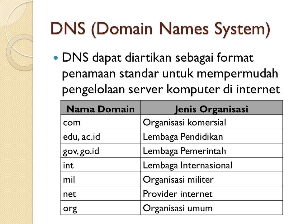 DNS (Domain Names System) DNS dapat diartikan sebagai format penamaan standar untuk mempermudah pengelolaan server komputer di internet Nama DomainJen