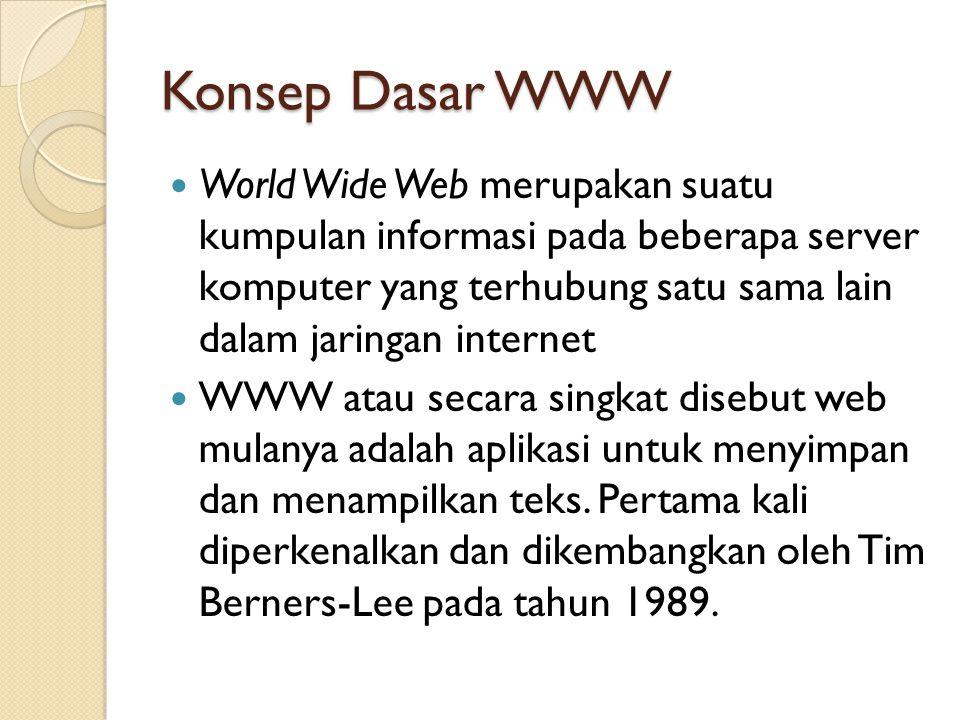 Konsep Dasar WWW World Wide Web merupakan suatu kumpulan informasi pada beberapa server komputer yang terhubung satu sama lain dalam jaringan internet