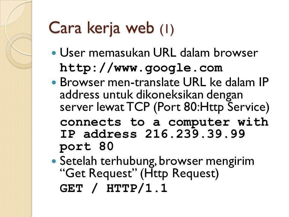 Cara kerja web (1) User memasukan URL dalam browser http://www.google.com Browser men-translate URL ke dalam IP address untuk dikoneksikan dengan serv